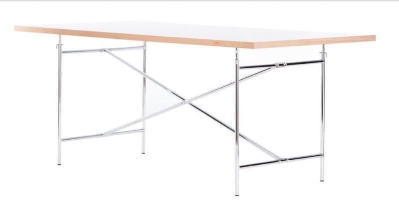 2 Schreibtische Von Richard Lampert Design Egon Eiermann  Tischplatte 180 X  90cm Weiß, Kante Eiche   Höhenverstellbar  Gestell Aus Chrom 135 X 78 X ...