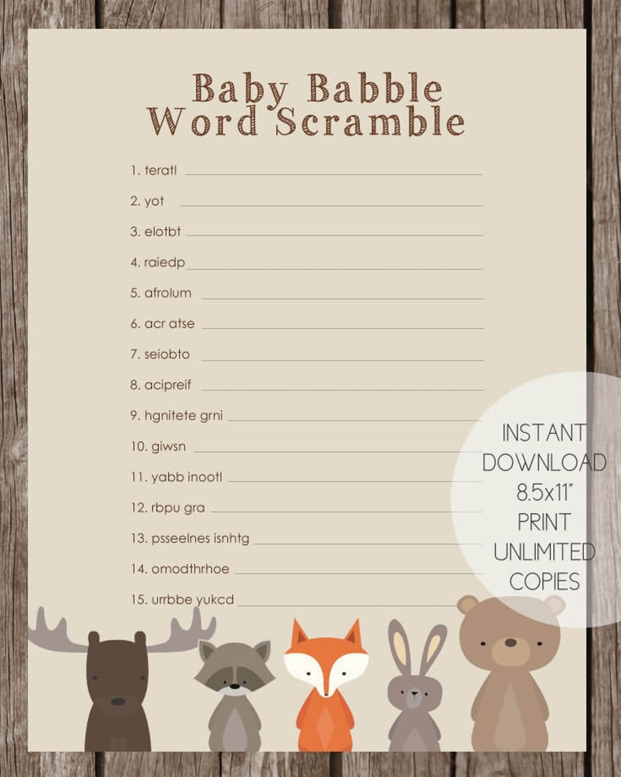 Woodland Animals Baby Babble Word Scramble Baby Shower