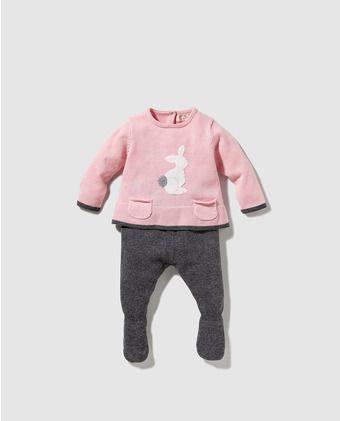 0b95e4b7336 Pelele de bebé niña bicolor con bolsillos