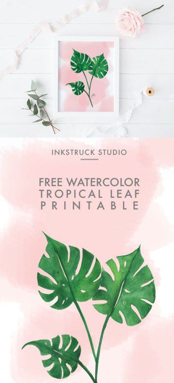 Free Watercolor Tropical Leaf Printable Tropical Leaves