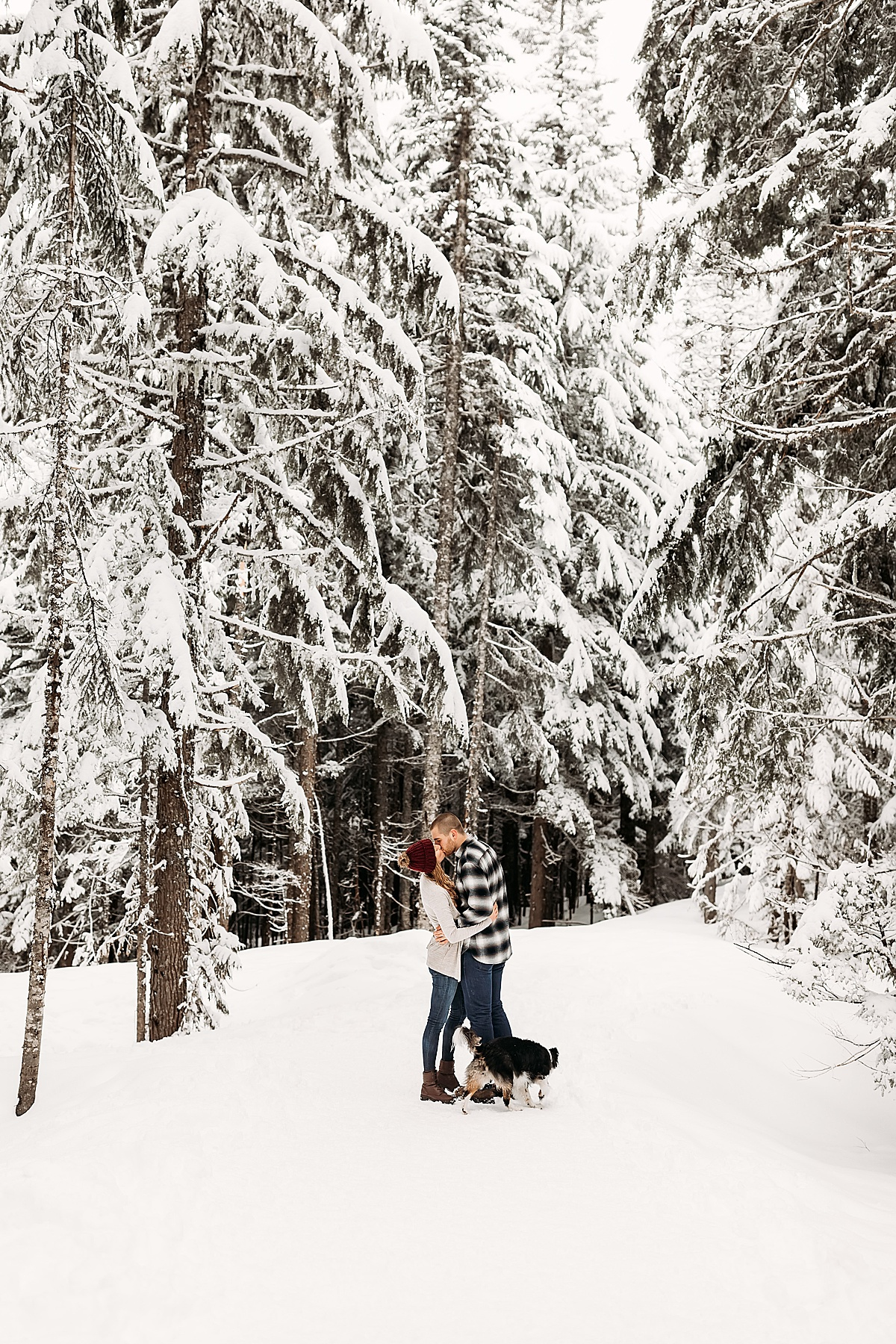 Playful Couple and Puppy Snow Photoshoot // Bryndle Photo