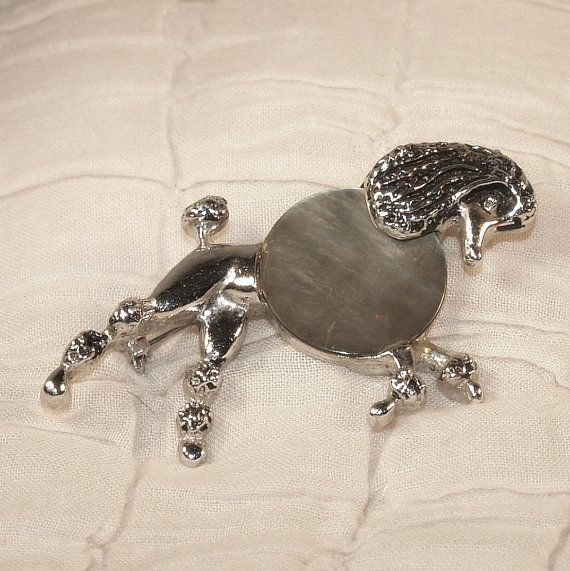 Vintage Poodle Pin Brooch C 1950s Silver Tone MOP Mother
