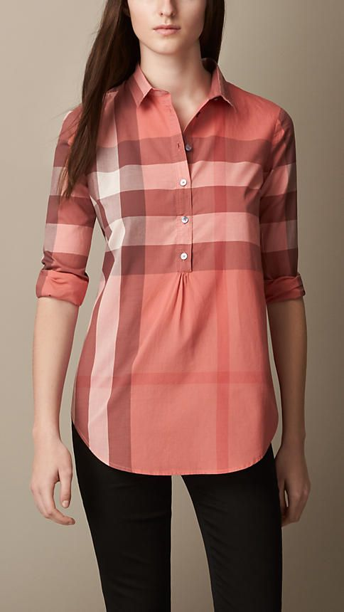 Tuniques En Coton · Chemise Pour Femme · Vêtements De Cérémonie · Mode  Indienne · Robes De Dentelle · Camisa tipo túnica de checks en algodón    Burberry 9923ccdd56d