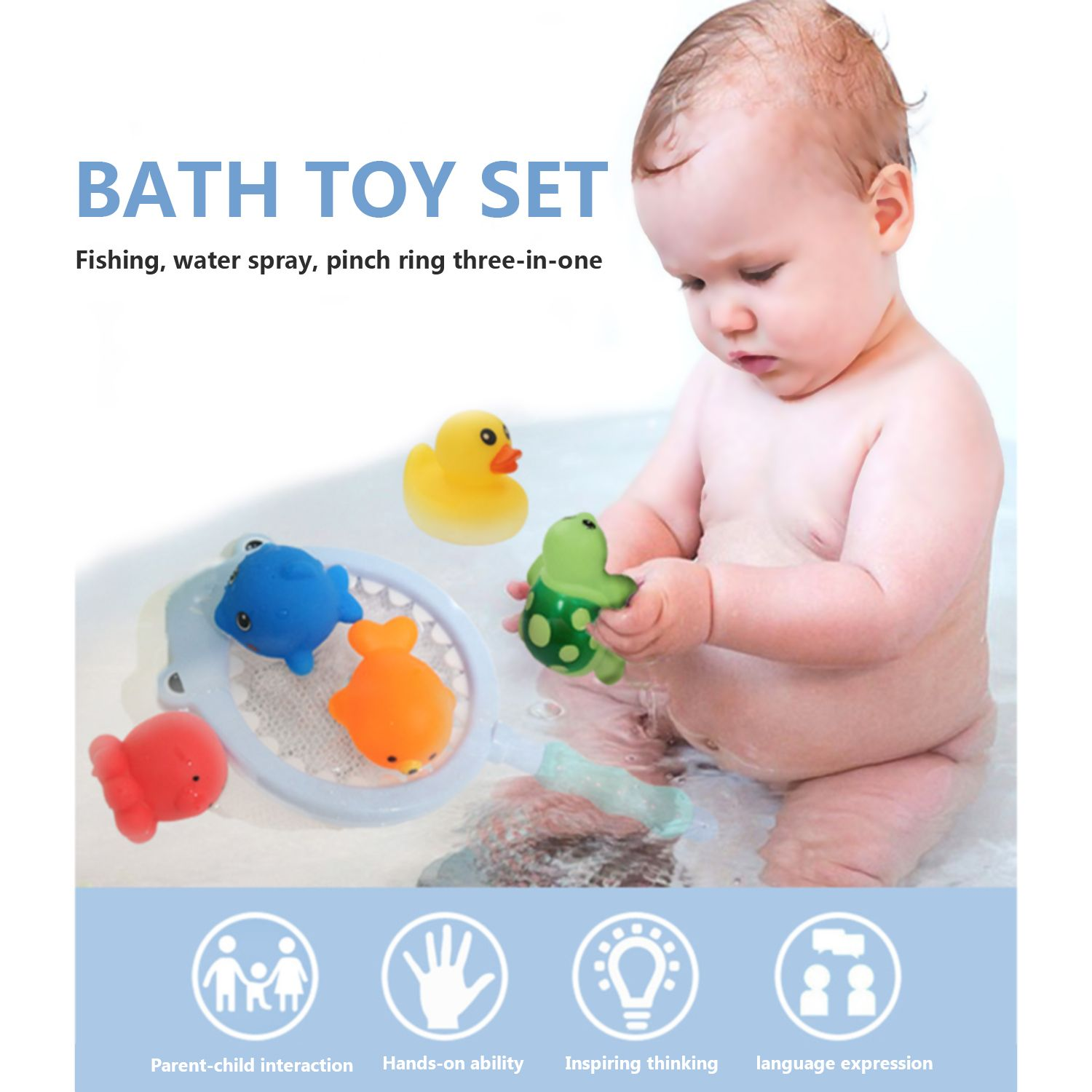 The Best Bath Toys Set, Toys Fish Net Game in Bathtub Bathroom Pool ...