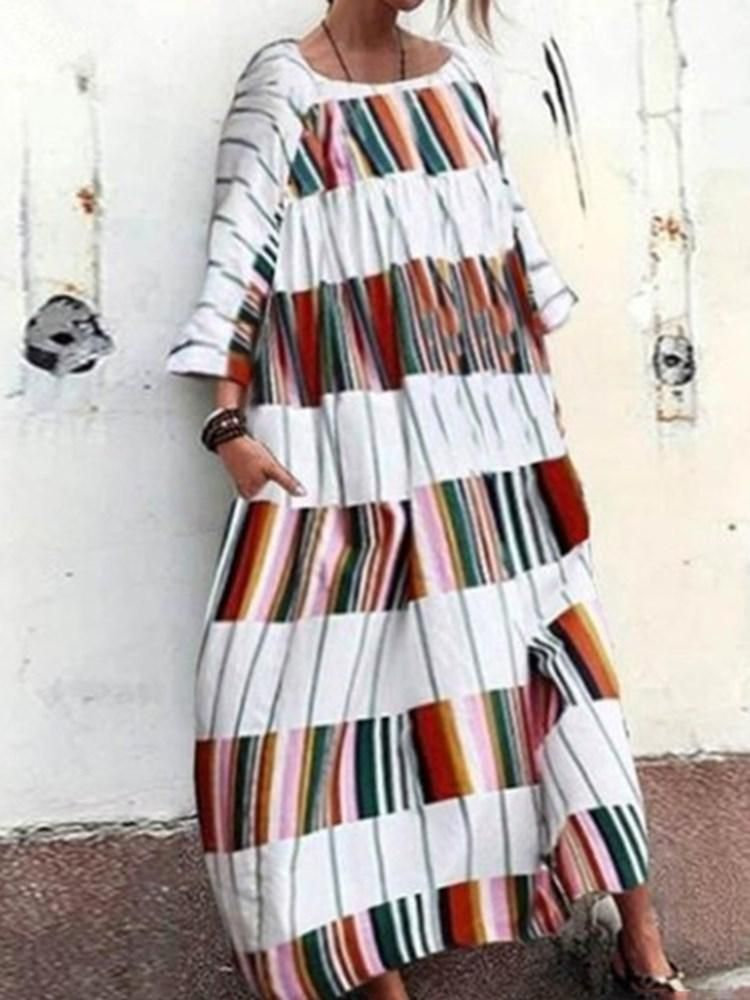 101e17dfbd7 Ankle-Length Print Three-Quarter Sleeve Stripe Standard-Waist Dresses