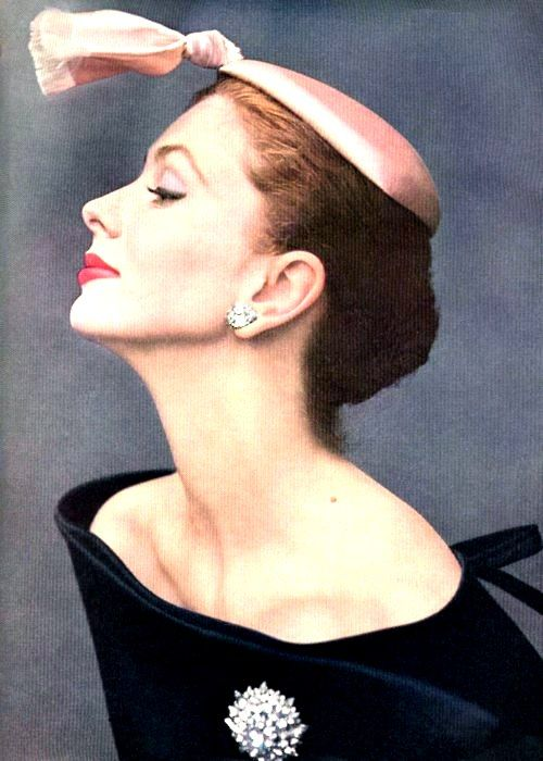 Suzy Parker - Oct. 15, 1953 - Balenciaga dress and cocktail hat of silk satin - Photo by John Rawlings - Vogue