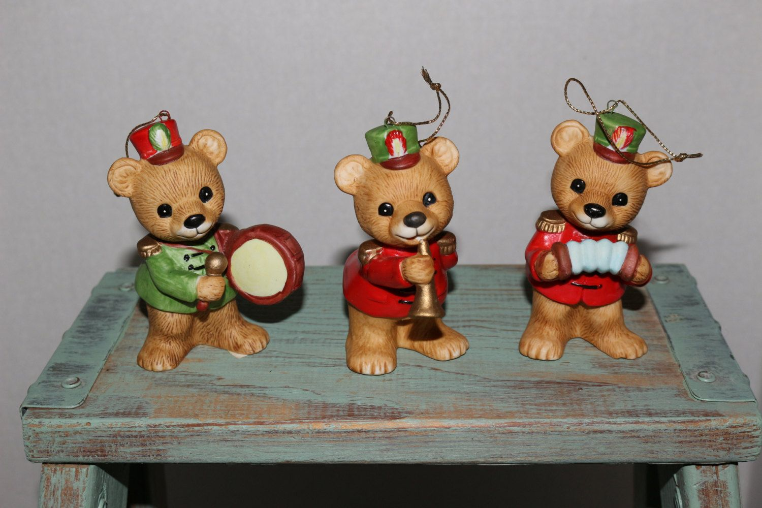 homco teddy bear porcelain christmas ornaments set of 3 holiday