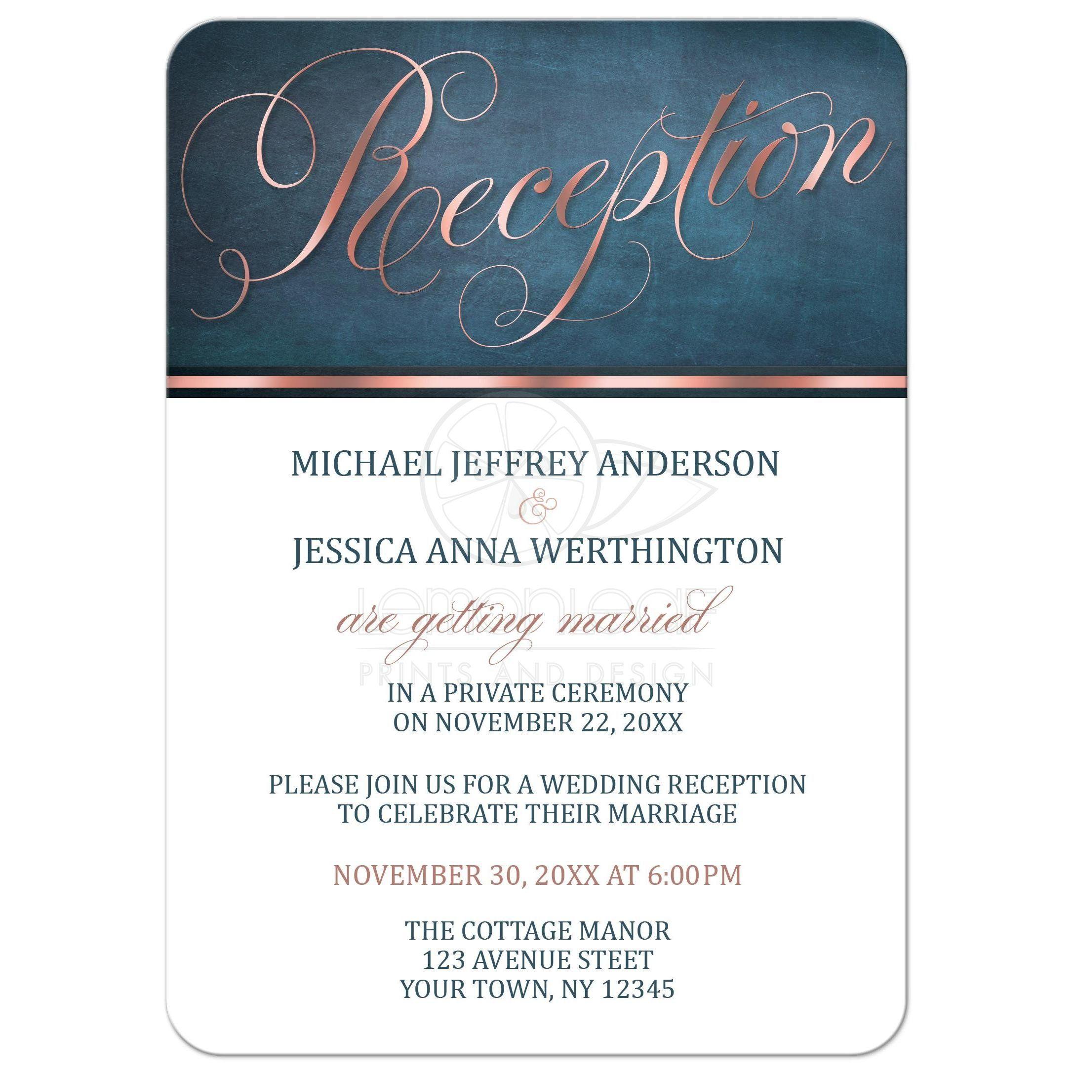 Reception Only Invitations Copper Blue Elegant Reception