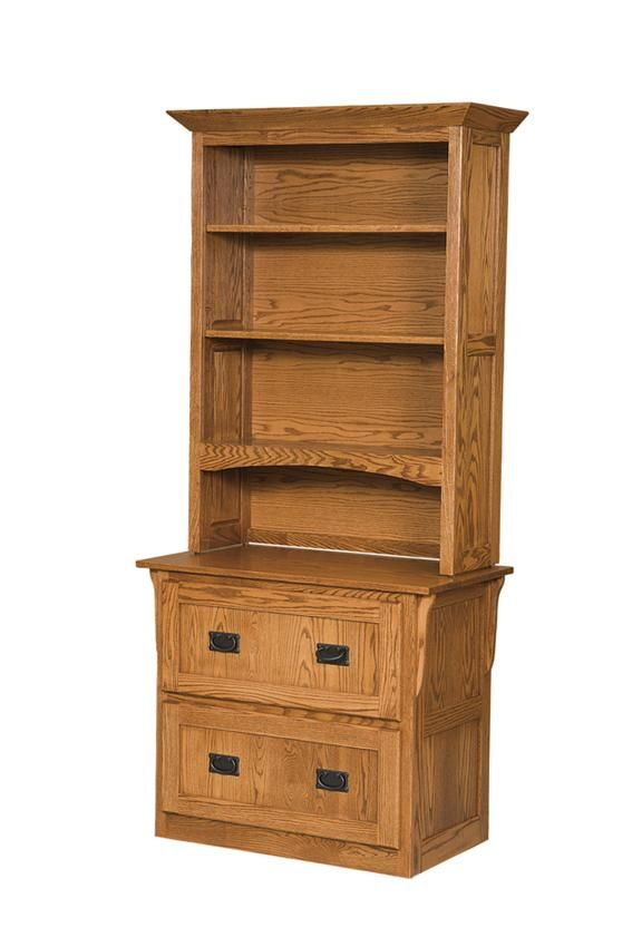 Arts And Crafts Two Drawer Lateral File Cabinet With Bookcase