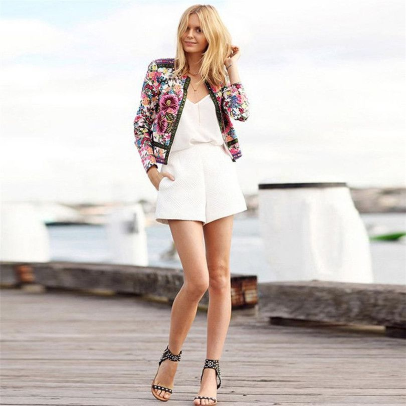 Fashion Women Floral Printed Short Jacket Long Sleeve Outwear