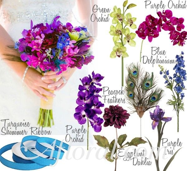 Tramaine Peacock Bouquet This Link Lets You Chose Inspiration By Color Plus A Green Purple WeddingPurple Blue WeddingsPink