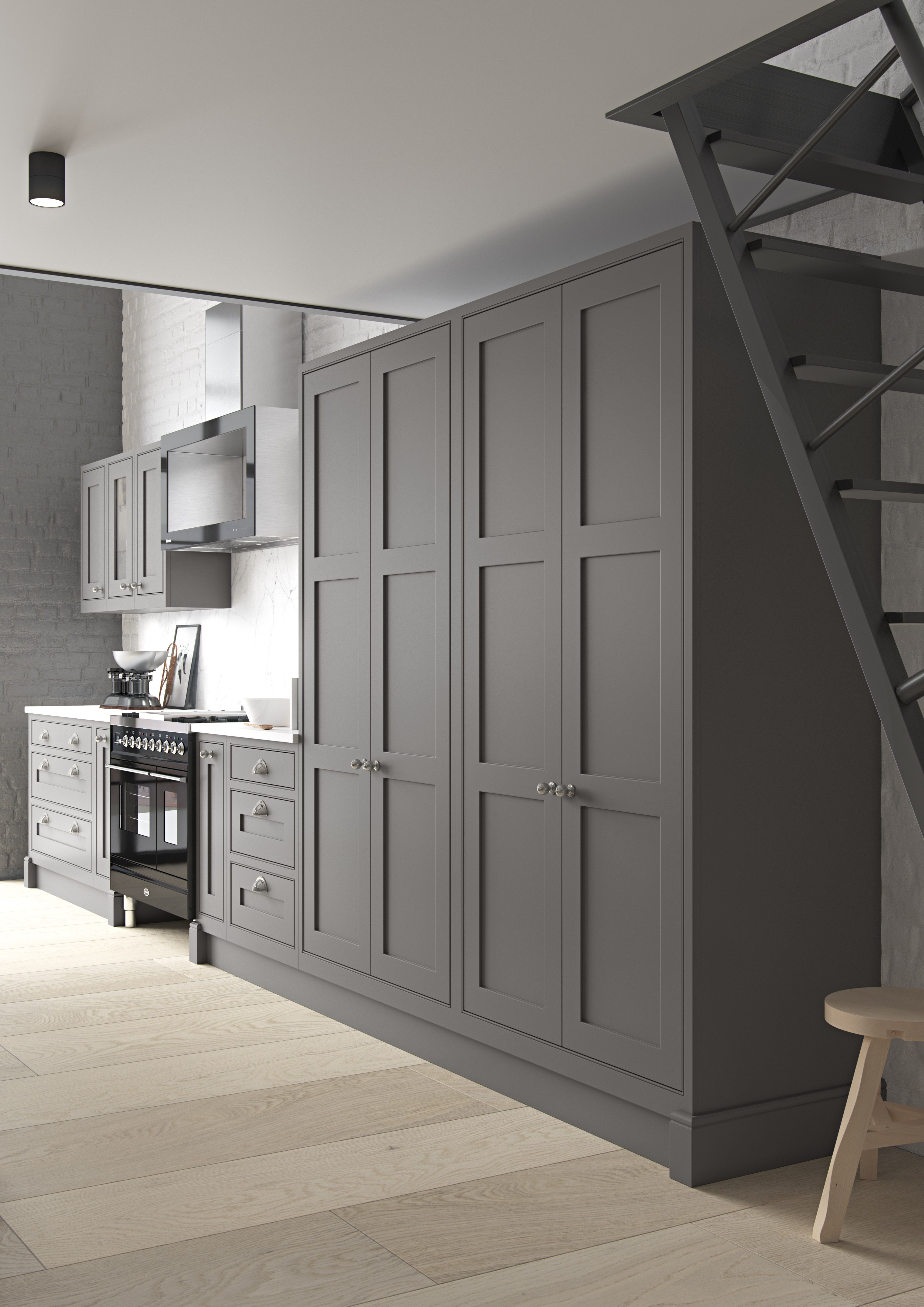 Best Diamond Grey Tall Units Cameo White Modern Kitchen 640 x 480