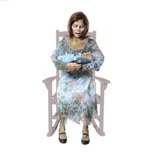 Lifesize Halloween Prop Spooky Zombie Rocky Lady Animated Haunted - life size halloween decorations