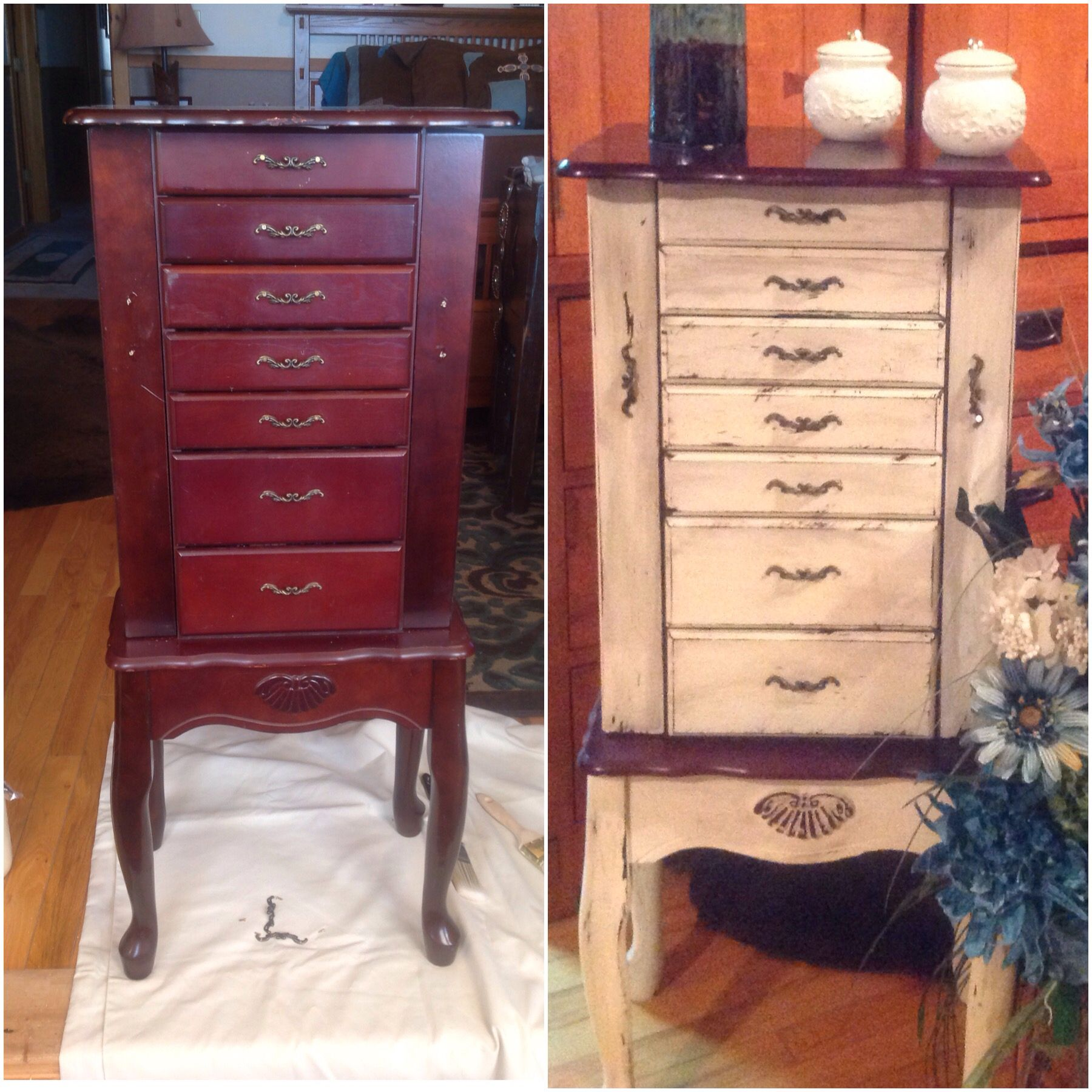 I used chalk paint distressing antique glaze and wax to refinish i used chalk paint distressing antique glaze and wax to refinish my jewelry armoire solutioingenieria Choice Image