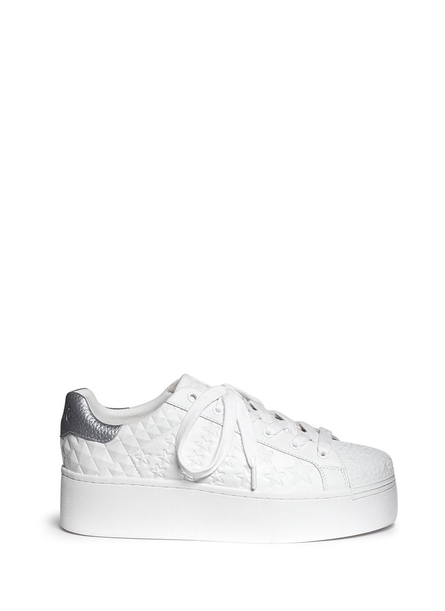 ASH | 'Chicklet' star embossed leather platform sneakers #Shoes #ASH