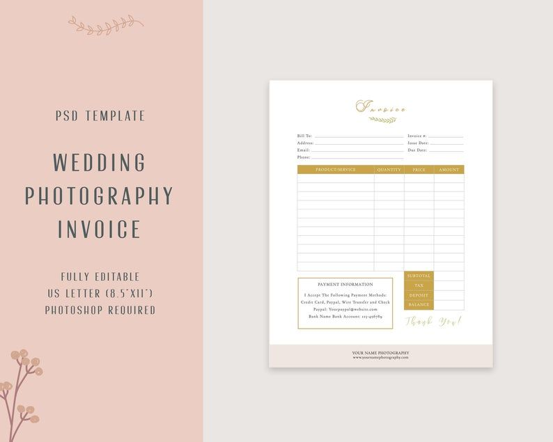 Invoice Template For Photography Pricing Purchase Order Form Etsy Photography Invoice Photography Invoice Template Invoice Design