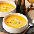 carrot soup with scallions and poppy seeds