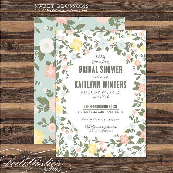 Bridal Shower Invitation Diy Printable Party Por Belletristics