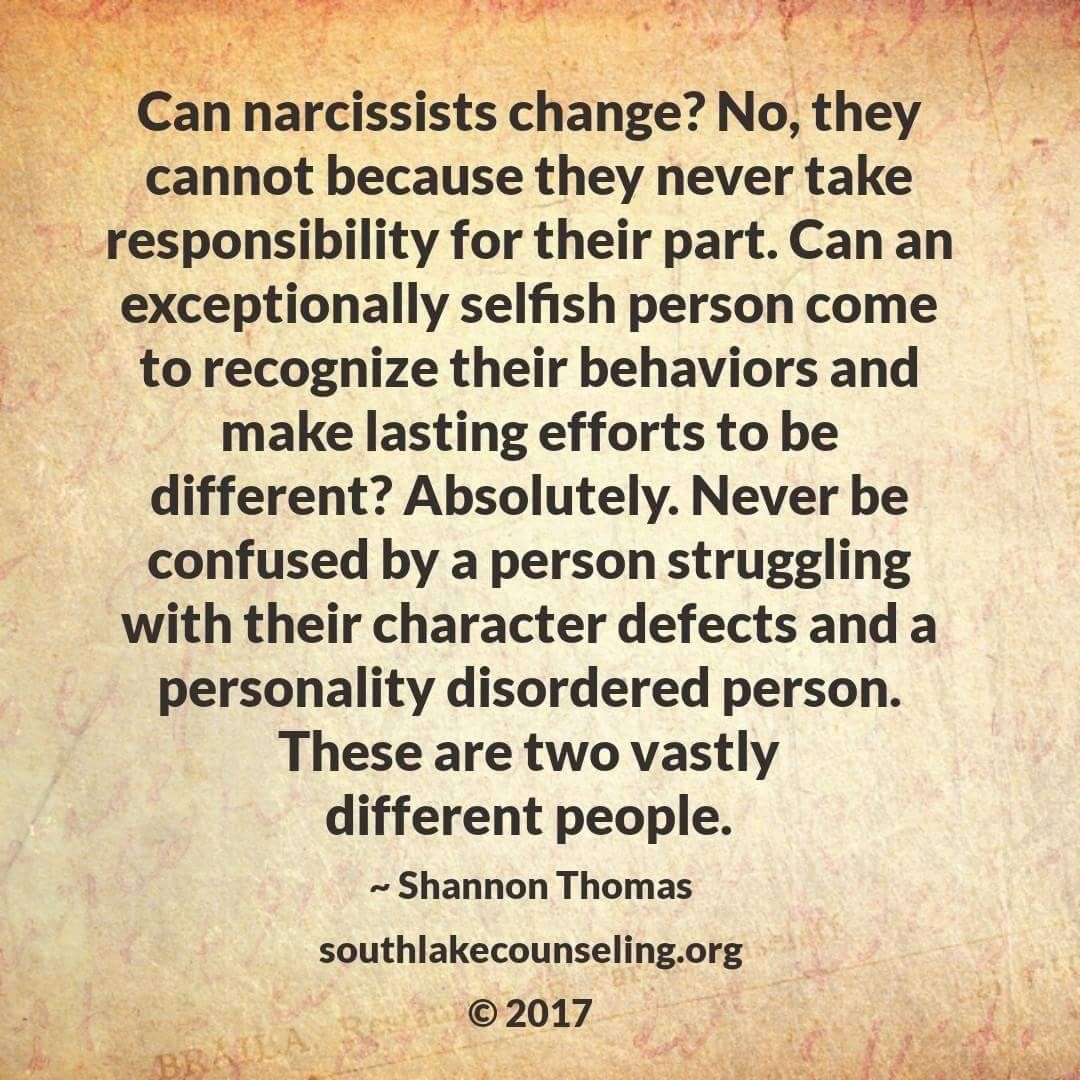 Narcissists Cannot Take Responsibility