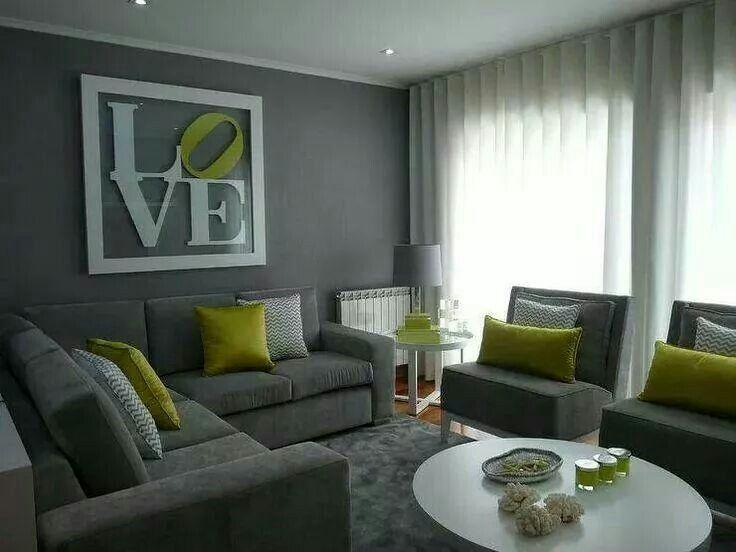 Juego de sala color gris y accesorios verde, gris y blanco. | Love ...