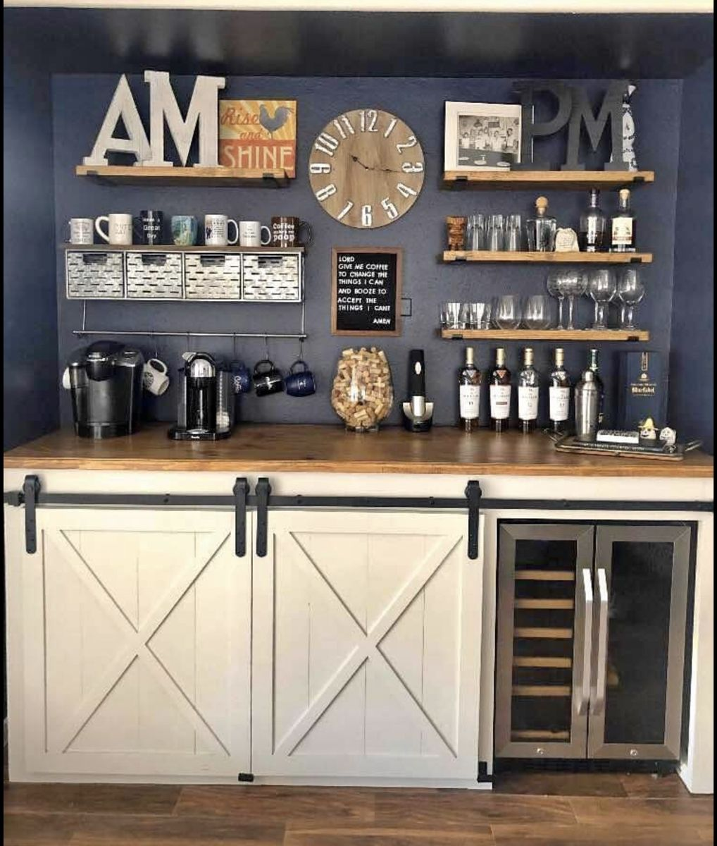 AM to PM Bar   Coffee bar home, Home wine bar, Bars for home
