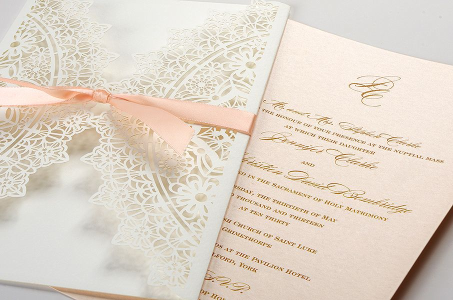 Laser Cut Wedding Invitations UK - Coral Laser Cut - Polina Perri ...