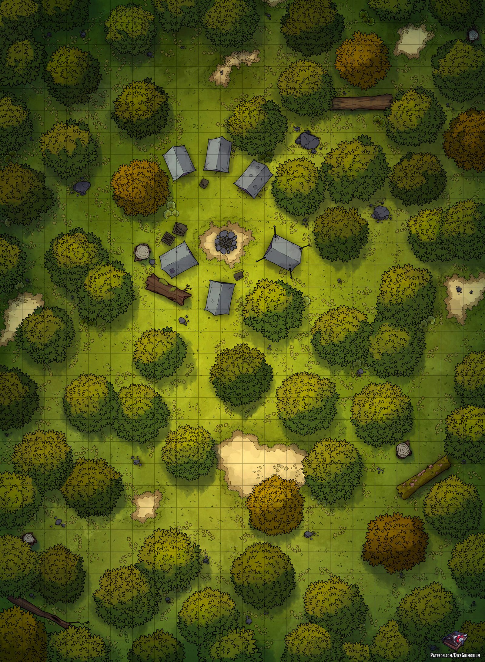 Forest Dnd Map : forest, Small, Forest, (22x30), Public, Grimorium, Patreon, Fantasy, World