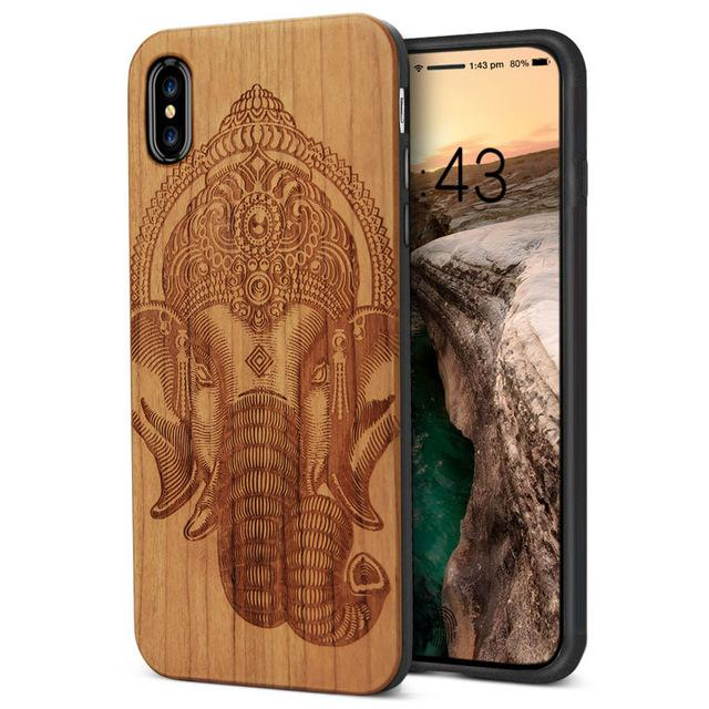 Wooden iPhone X Case w/ Silicon Hybrid Shock Resistant Liner