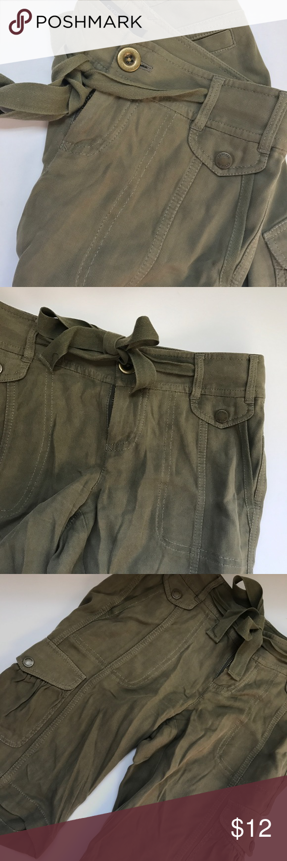 ed5a6d2c97 100% Silk Olive Green Express Cargo Shorts Sexy and comfy Olive Green 100%  Silk Cargo Shorts. Worn only once. Side and back pockets.