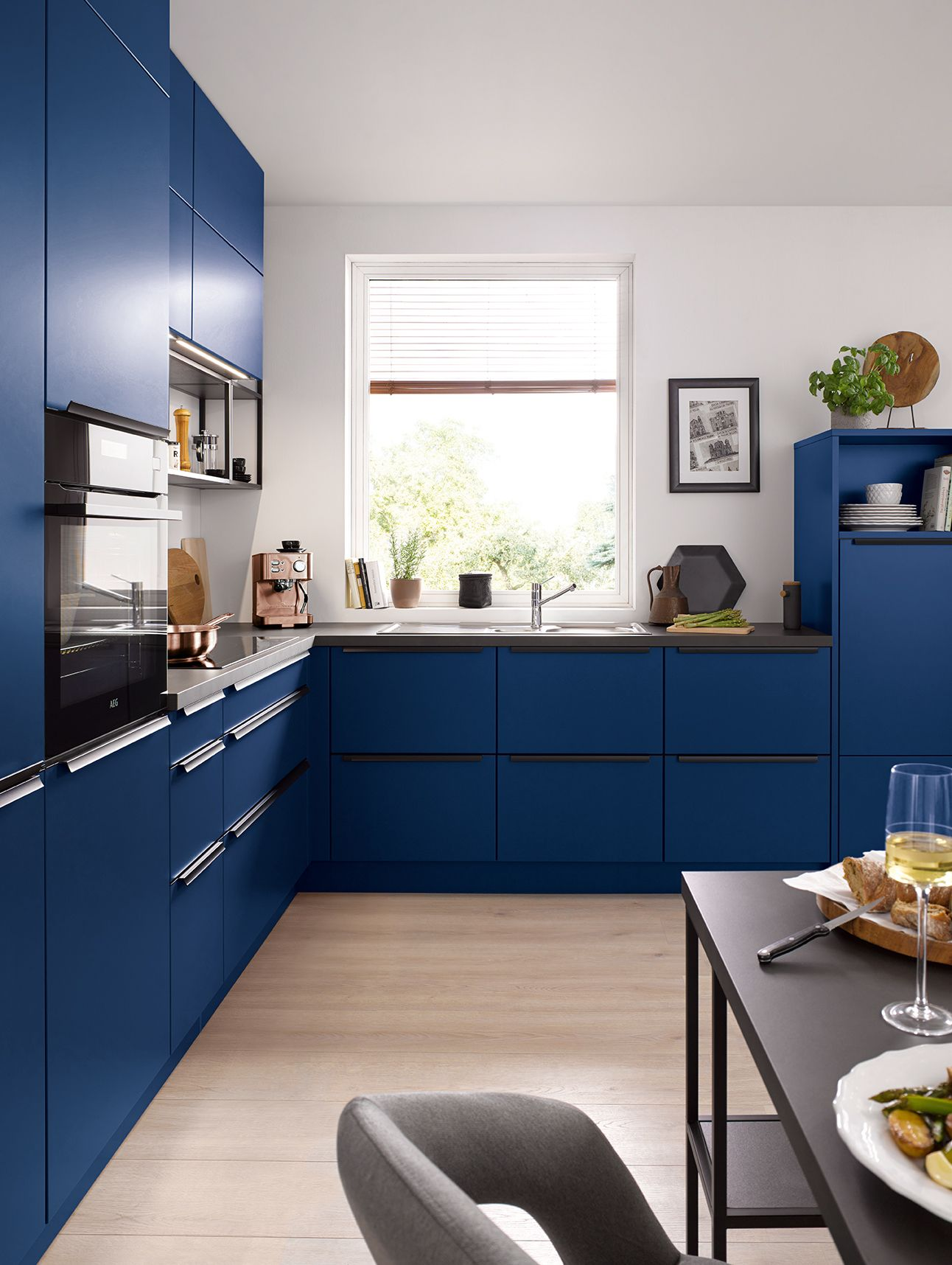 Beautiful Blue Kitchen Cabinets In A Matte Finish High