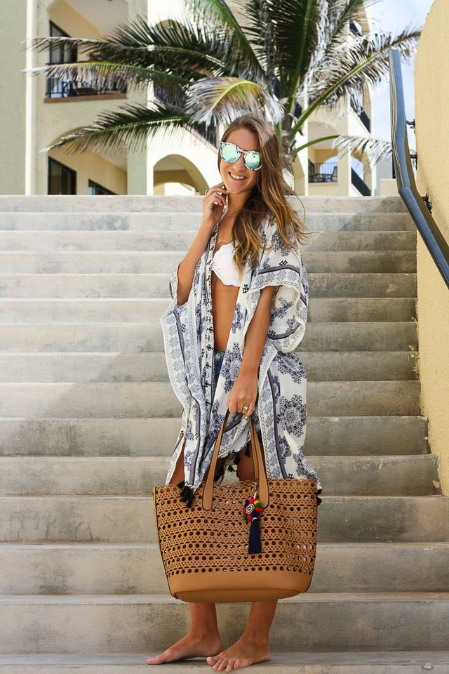 Swimsuit: Top and Bottoms // Kimono: Nordstrom, similar here and here // Shorts: One Teaspoon // Bag: Nordstrom // Pom Keychain: ASOS, love this and this // Sunnies: Quay //  Happy Friday! Anybody el