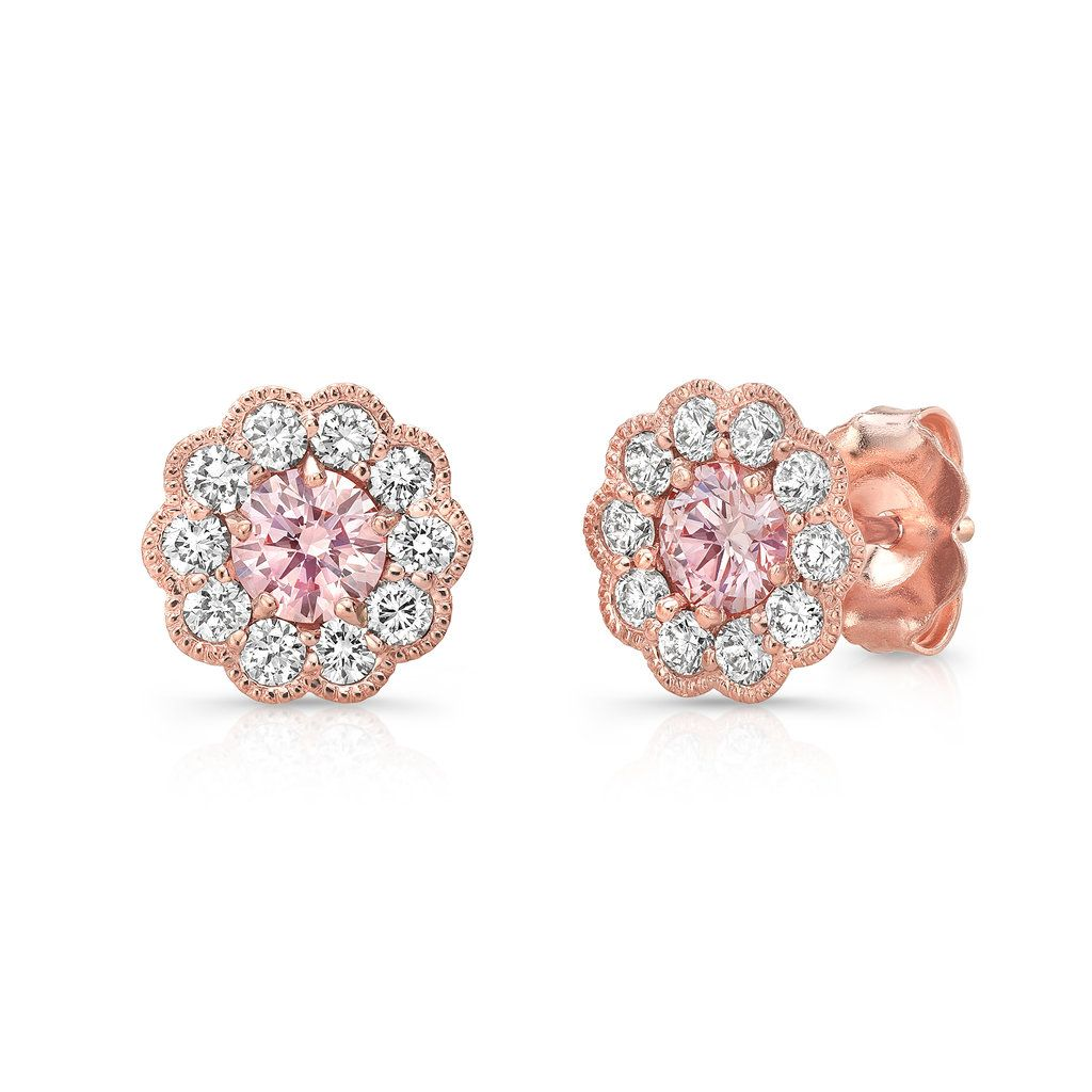 Pure Grown Diamonds Pink Diamond Halo Earrings In 14k Rose Gold At Yatesjewelers