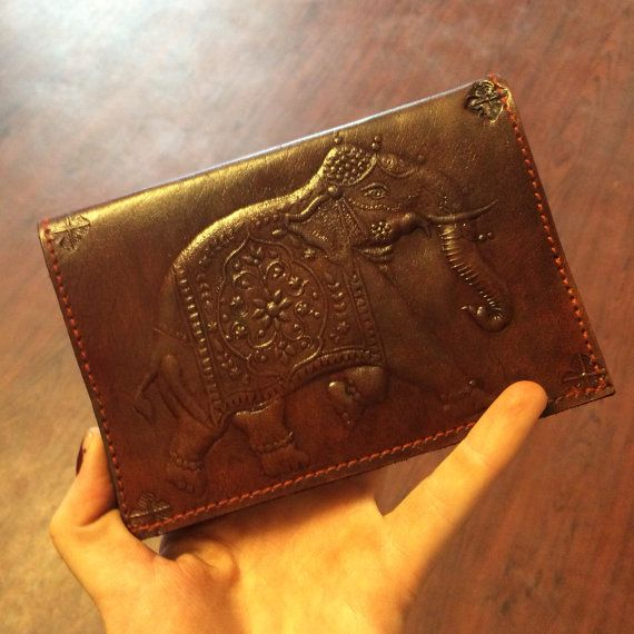 leather elephant passport cover by mywanderingheartshop on etsy wishlist pinterest. Black Bedroom Furniture Sets. Home Design Ideas