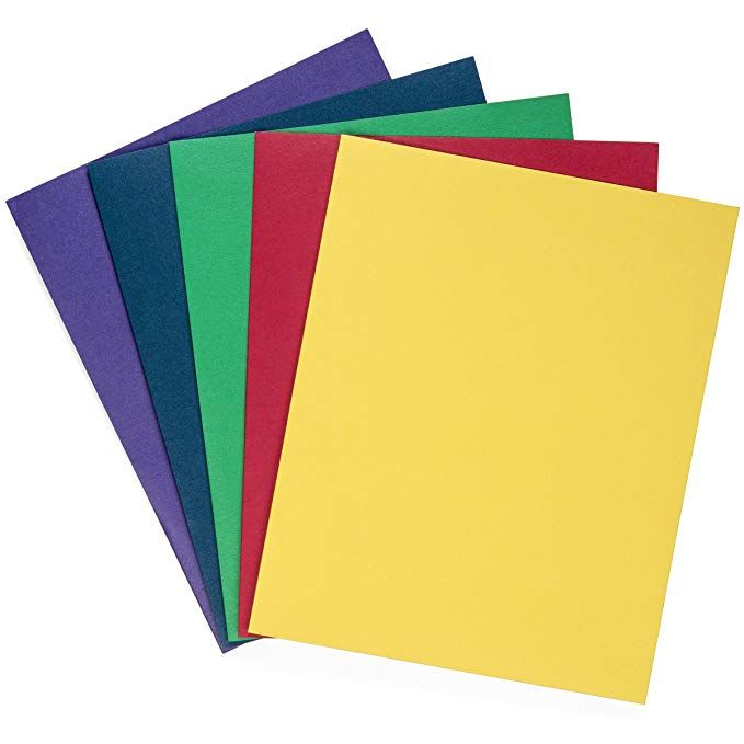2 Pockets and 3 prongs 5 Pack Multicolor Plastic Two Pocket Folders with prongs