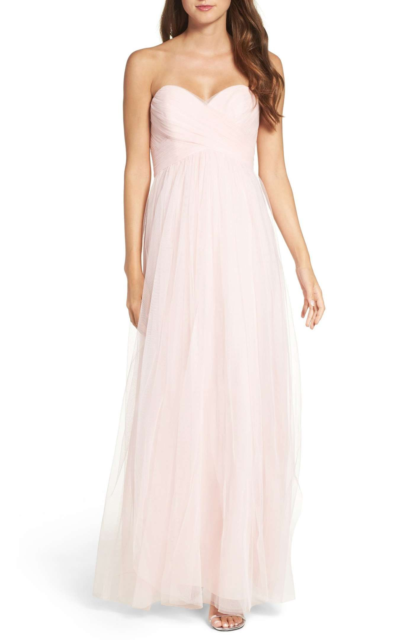 Ice Pink Long Bridesmaid Dress 184 Nordstrom Sweet Heart Neck Line Optional Straps