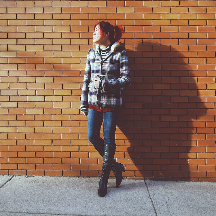 Mossimo jacket, Forever Women cable knit cardigan, Forever 21 striped shirt, American Eagle jeans, Aerosoles boots