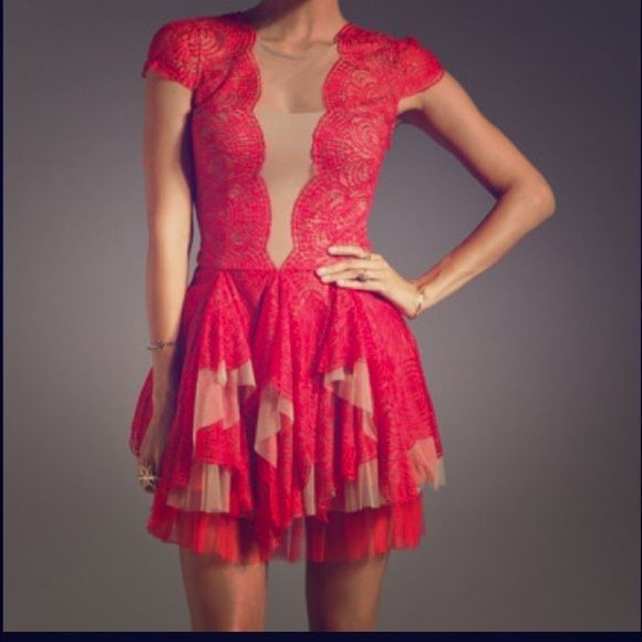 SALE ‼ ‼ BCBG cocktail dress Red lace with mesh tan accents ...