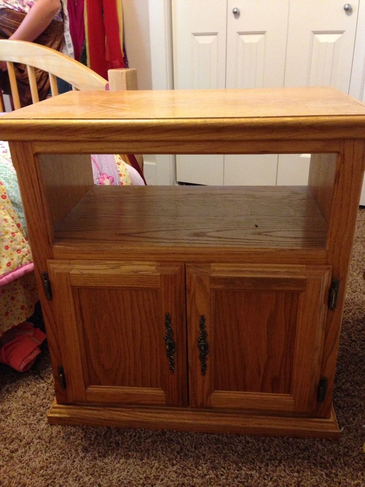 Old Oak Tv Stand Turned Nightstand Old Tv Stands