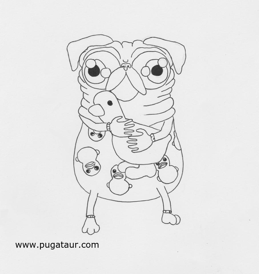Pug line art. Pug coloring page | Pugataur Pug Coloring Pages ...