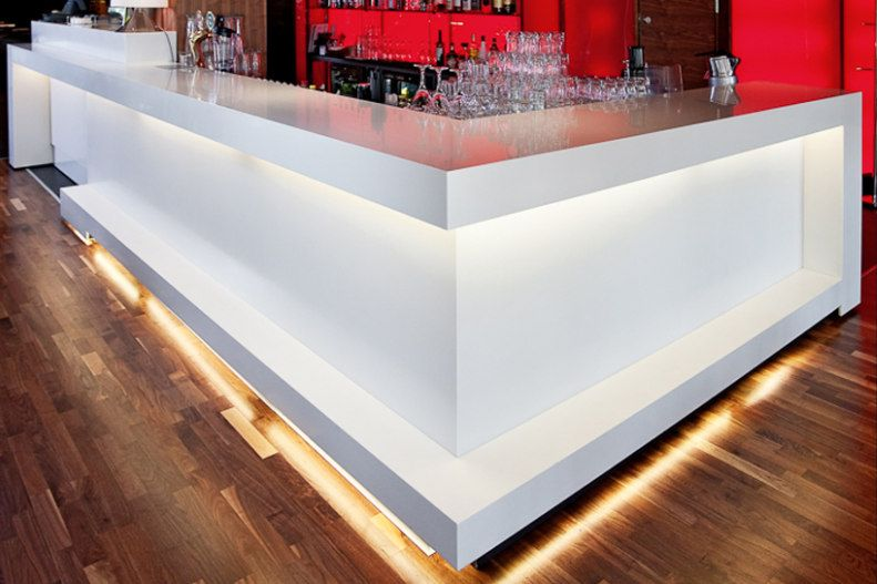 L Shaped White Artificial Stone Bar Counter TW MACT 031