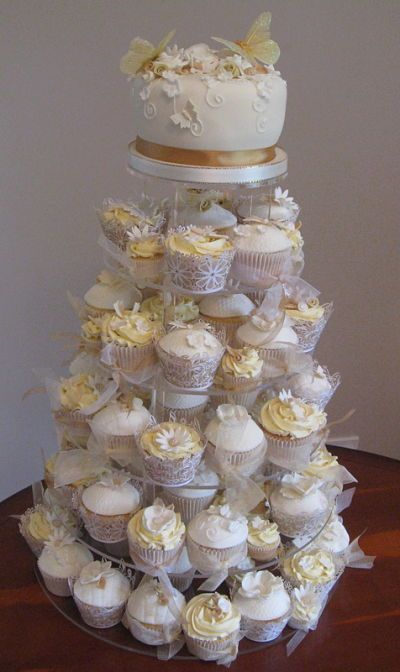Gold and White Wedding Cupcake Tower   cake ideas   Pinterest ...