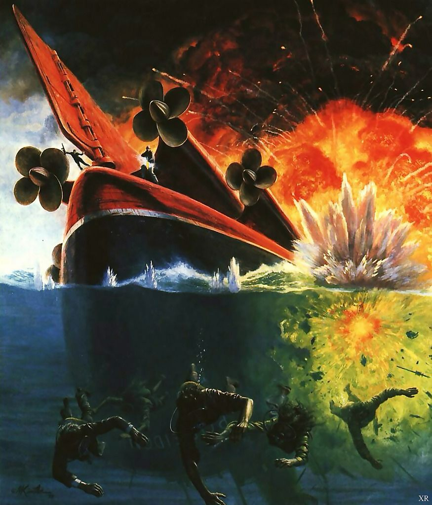 Poseidon Adventure movie poster, 1979; artist: Mort Kunstler