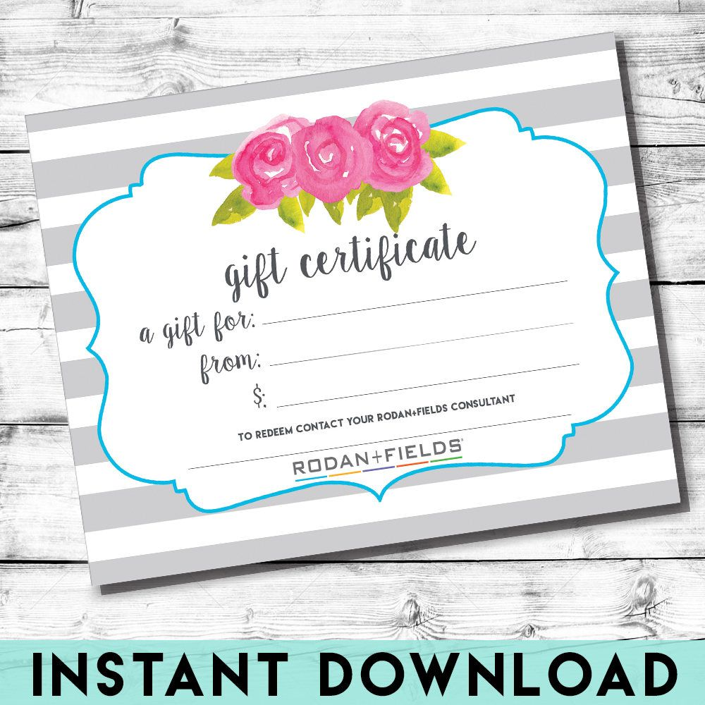 Rodan and Fields Gift Certificate | INSTANT DOWNLOAD | Gray and ...
