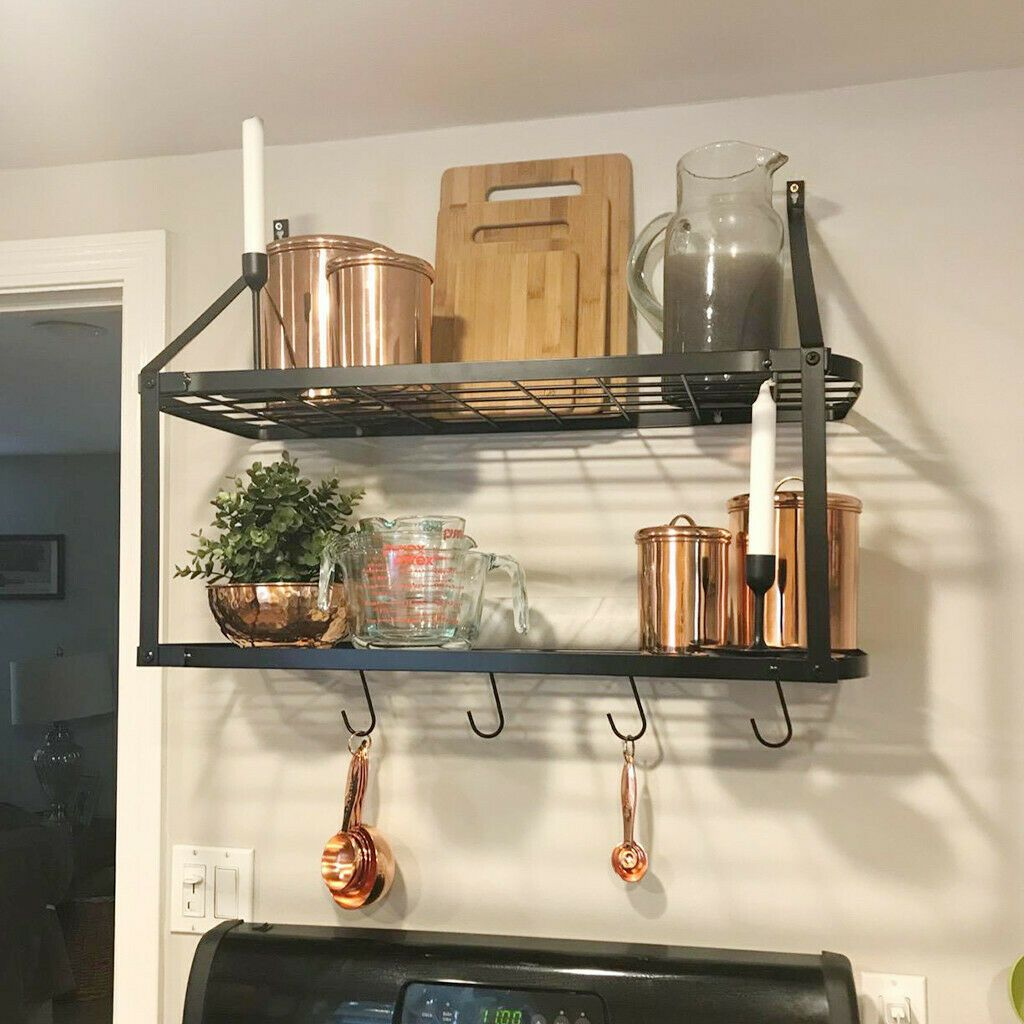 Details About 2 Tiar Wall Iron Pot Rack Kitchen Storage Pan Hanger