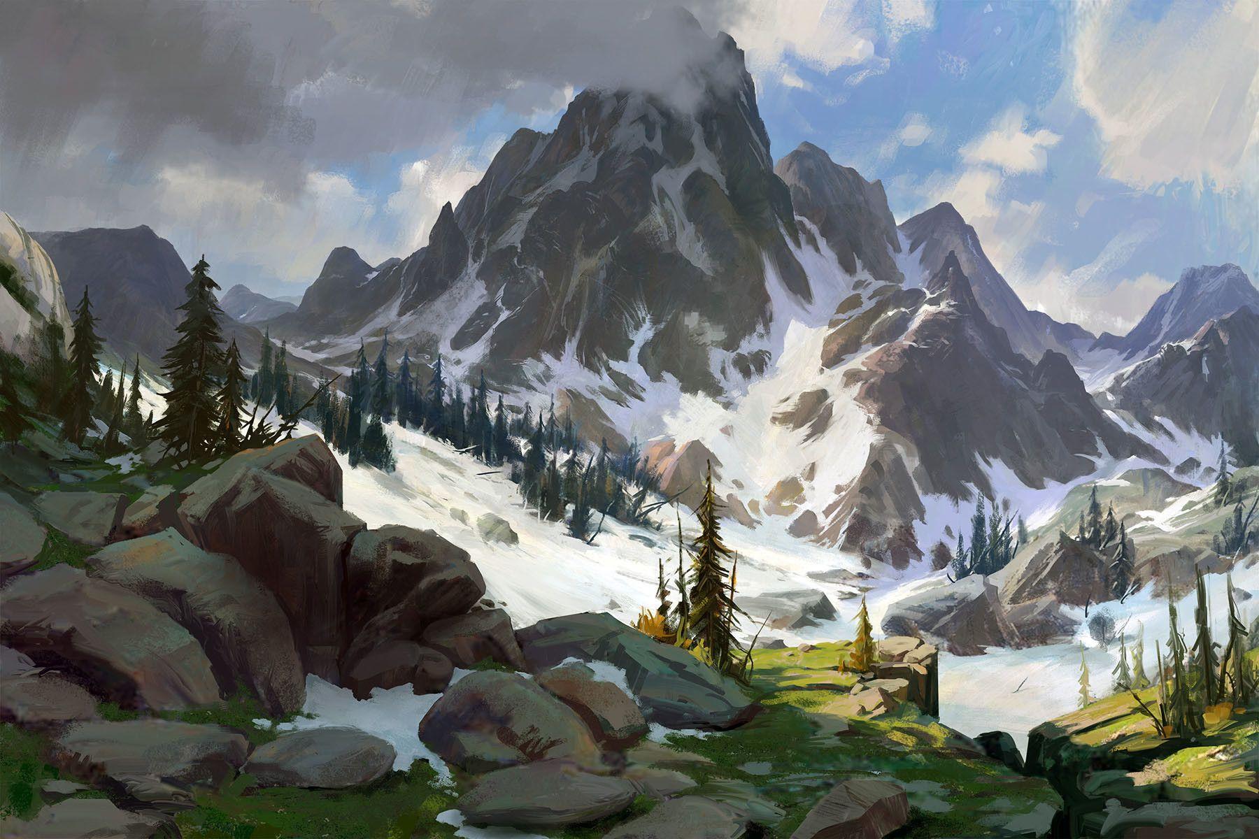 Snow Mountain Hongqi Zhang Fantasy Landscape Landscape Art Concept Art