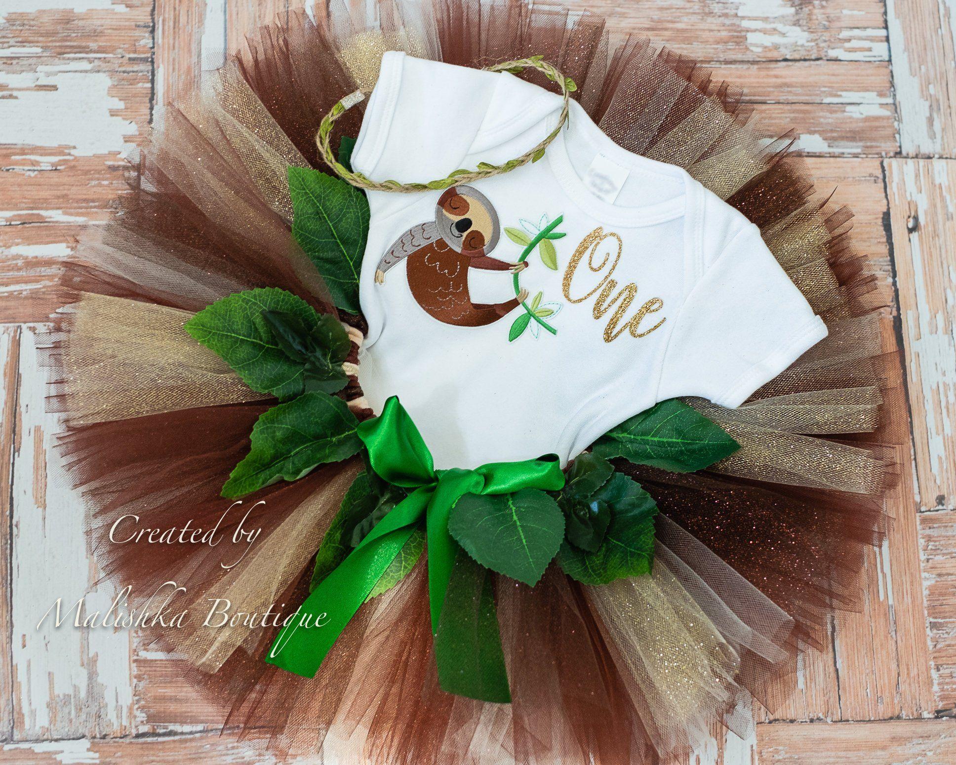 Baby girl sloth cake smash tutu outfit set gold one
