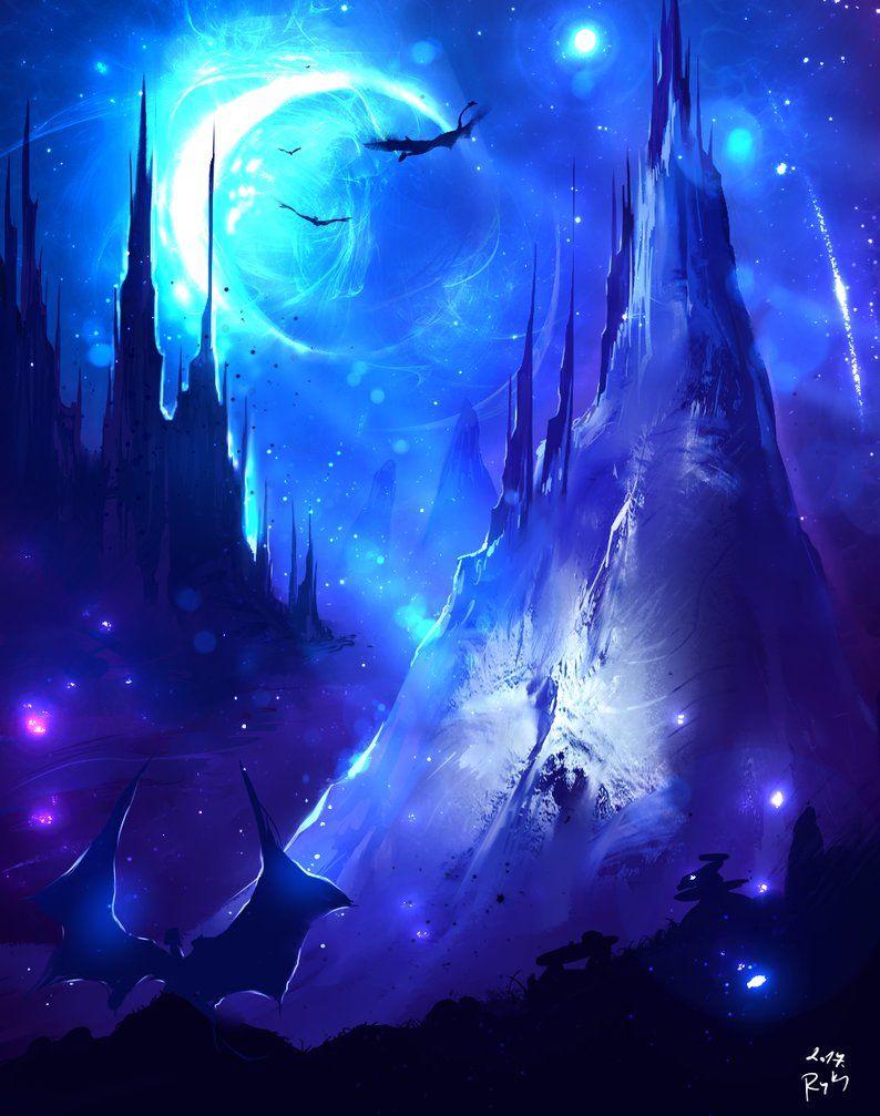 Blue Moon by on DeviantArt Рисунки