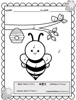 Music Coloring Sheets Spring Easter Color By Note