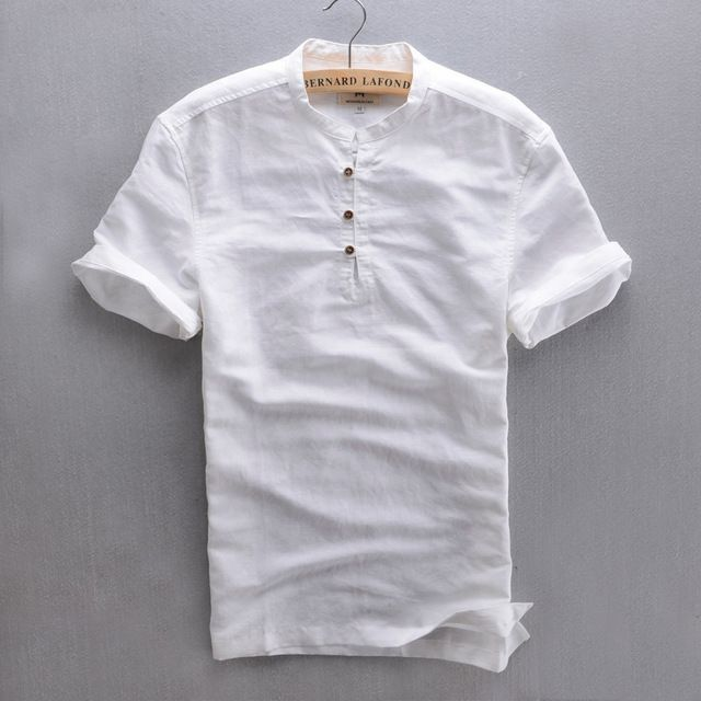 4ec1755a82 AliExpress - Top Quality Short Sleeve Slim Linen Solid Color Popover Shirt  Men