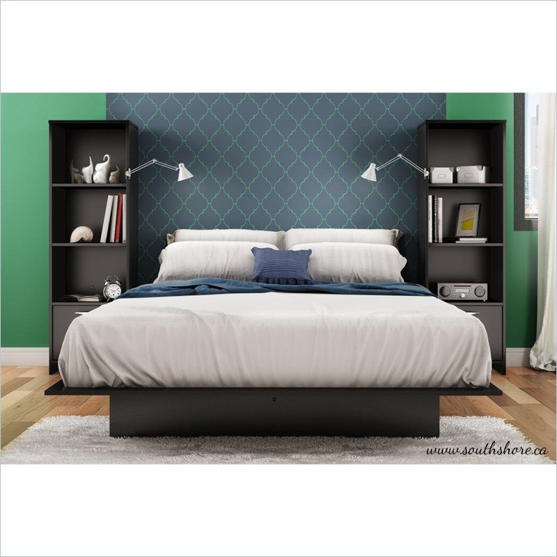 South Shore Cosmos 3 PC Platform Bed W Bookshelf Nightstands Black Bedroom Set